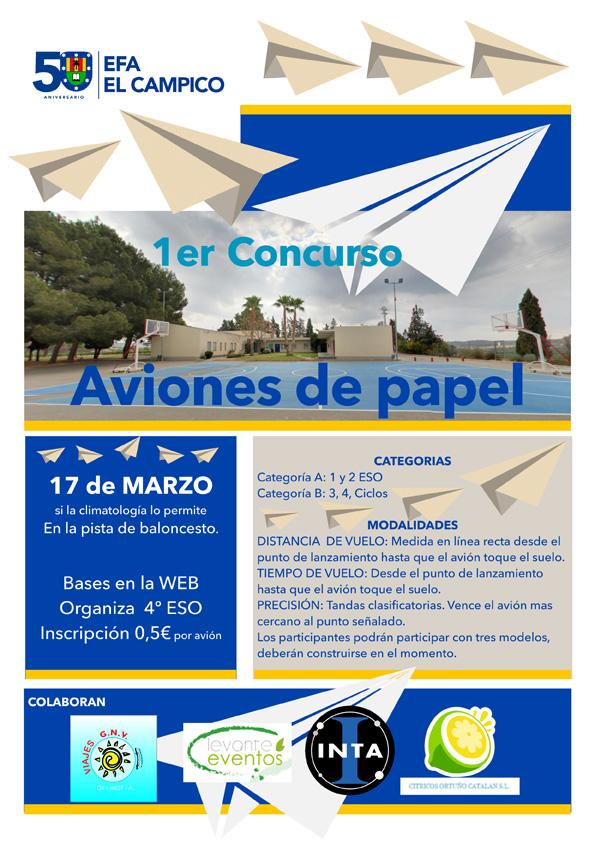 Cartel del 1º Concurso de Aviones de Papel en EFA EL CAMPICO